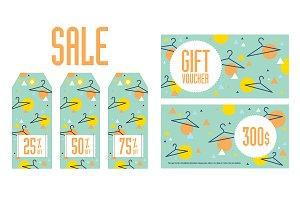 Sale tags and gift vouchers bundle
