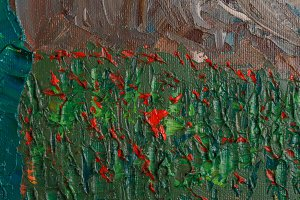 Red flowers with oil paints
