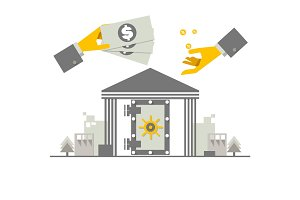 Investing money concept. Hand putting money coin at a bank. Flat illustration