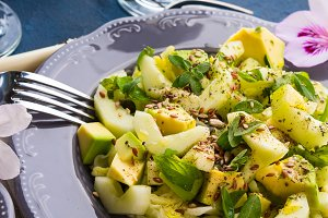 Green Avocado cucumber served healthy salad