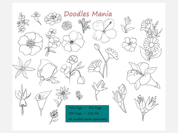 Doodle Hand Drawn Flowers Clipart