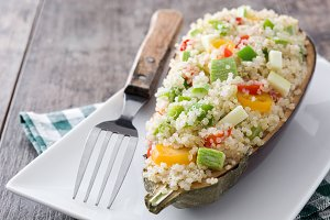 Stuffed eggplant with quinoa