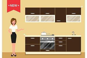 Modern kitchen interior as furniture set