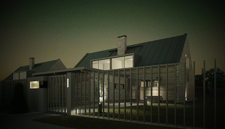 Vray Night and Day Twin House scene