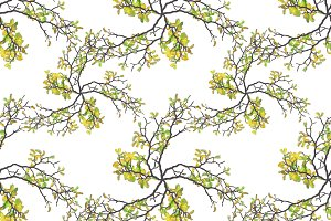 Botanic Motif Nature Print Seamless Pattern