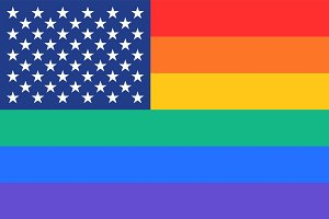 Poster of rainbow United States of America flag