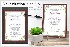 A7 Invitation - 5 x 7 - PSD Mockup