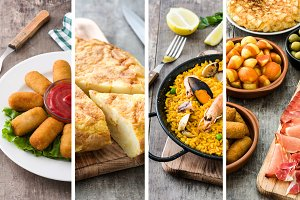 Spanish food collage