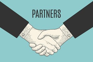 Vintage drawing of handshake in engraving style with text Partners
