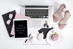 Ipad Mockup, Heels & Cupcake