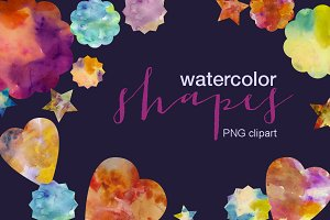 Watercolor shapes clipart