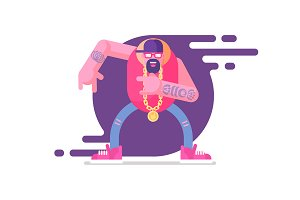Vector illustration of guy rapping