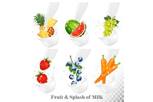 Milk splashes with fruit. Vector