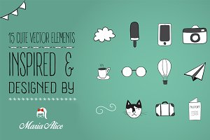 15 Cute Vector Elements