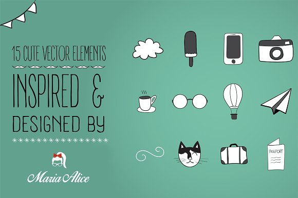 15 Cute Vector Elements