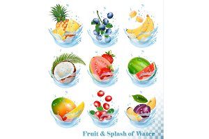 Set of fruit in a water splash