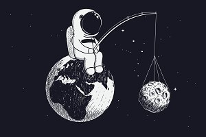 little astronaut sits on the Earth and keeps Moon