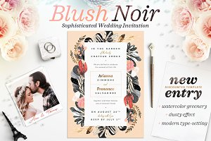 Blush Noir Wedding Invite I