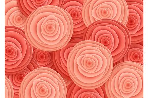 Pink Flowers in style of art paper.