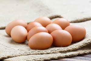 Hen eggs on sack cloth
