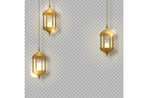 Gold vintage luminous lanterns.