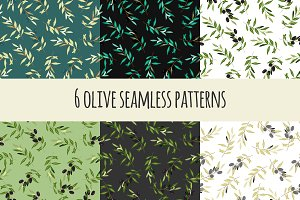 6 olive seamless patterns
