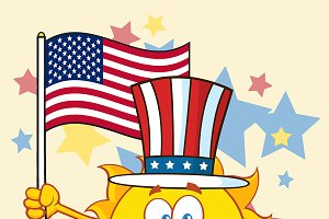 Cute Sun With Patriotic Hat