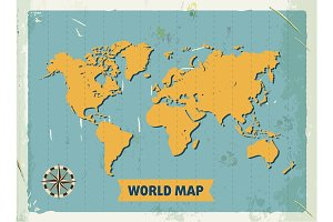 Grunge retro metal sign with world map. Vintage poster. Old fashioned design.