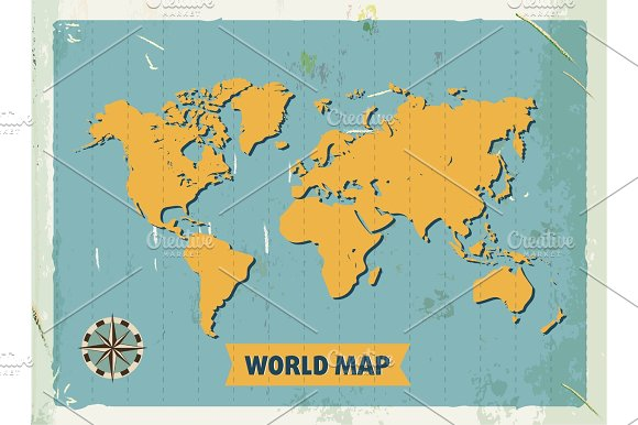 Grunge Retro Metal Sign With World Map Vintage Poster Old Fashioned Design