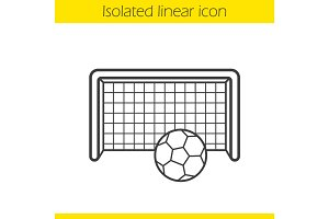 Soccer goal linear icon
