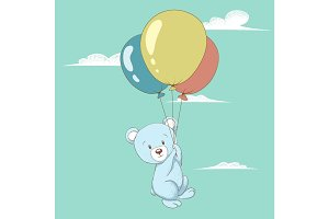Cute bear flying with balloons.