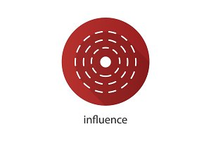 Influence abstract symbol. Flat design long shadow icon
