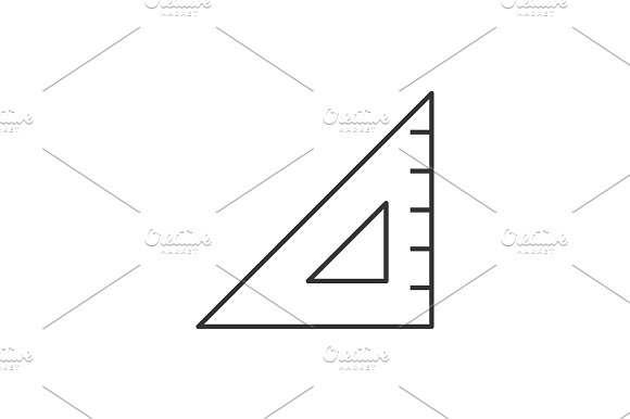 Triangular Ruler Line Icon