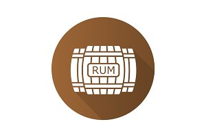 Rum wooden barrels flat design long shadow icon