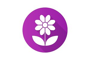 Camomile flat design long shadow icon