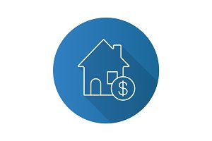Real estate market flat linear long shadow icon