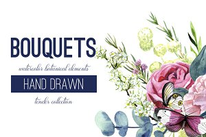 Watercolor Flowers, 10 Arrangements