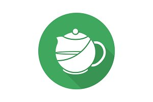 Brewing teapot flat design long shadow icon