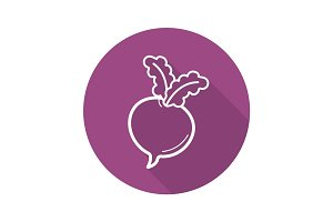 Beet flat linear long shadow icon