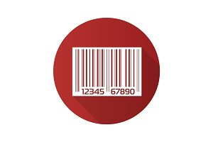 Barcode flat design long shadow icon