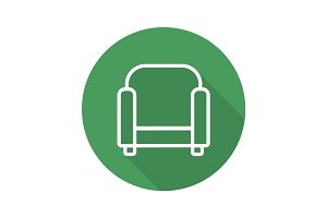 Armchair flat linear long shadow icon