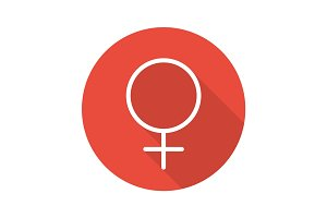 Women gender symbol. Flat linear long shadow icon