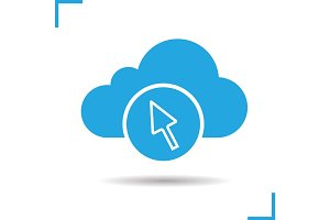 Cloud storage access glyph icon