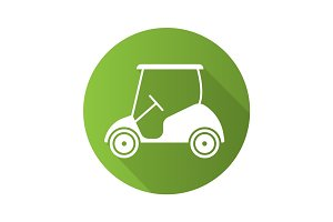 Golf cart flat design long shadow icon