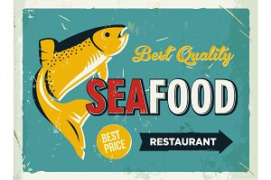 Grunge retro metal sign with seafood logo. Vintage poster. Old fish restaurant. Food and drink background theme.