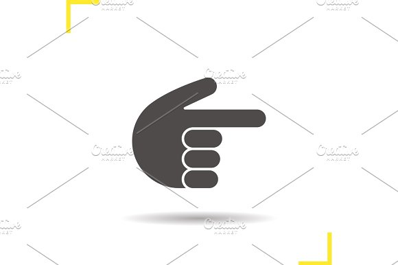 Point Right Hand Gesture Glyph Icon