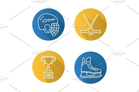 Hockey Flat Linear Long Shadow Icons Set