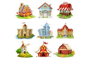 Buildings 3d vector icons set