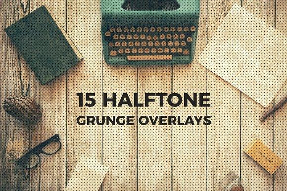 30 Halftone Grunge Overlays
