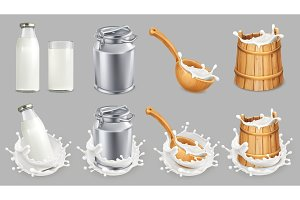 Milk can and splash. Vector icon set
